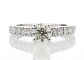 18ct White Gold Diamond Ring With Stone Set Shoulders 0.61 Carats