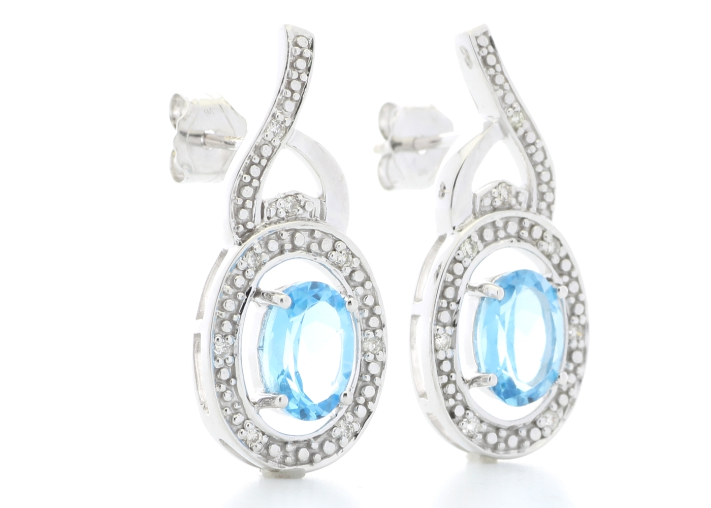 9ct White Gold Diamond And Blue Topaz Earring - Image 4 of 4