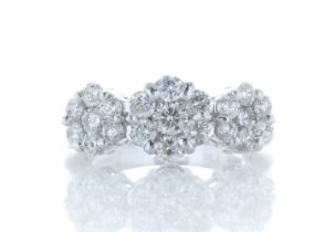 18ct White Gold Flower Cluster Diamond Ring 1.50 Carats
