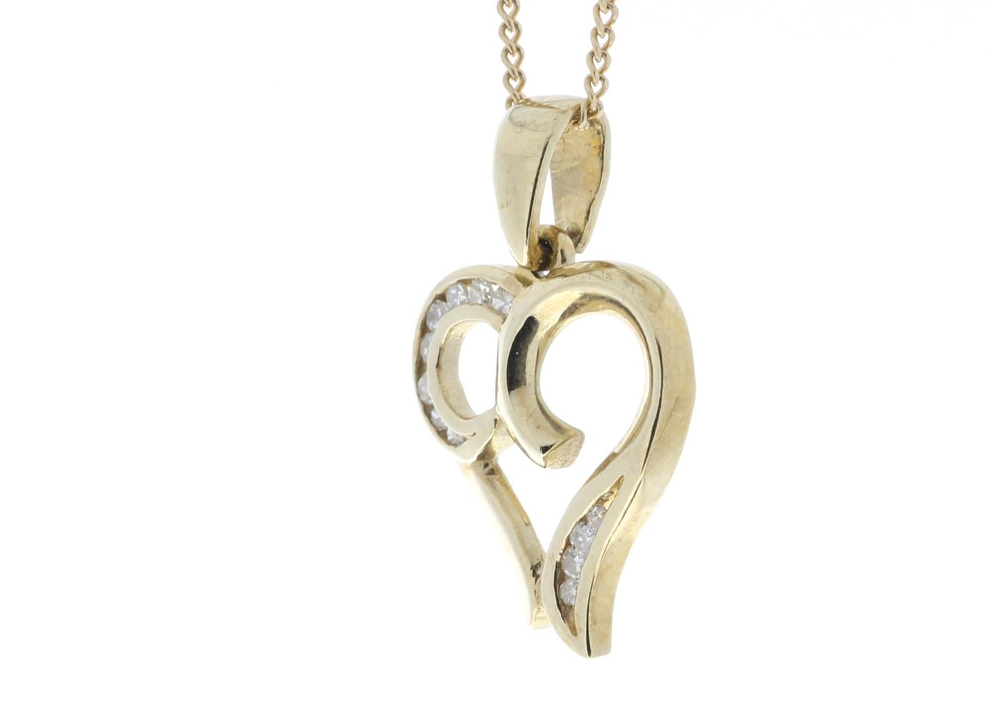 9ct Yellow Gold Diamond Heart Pendant - Image 4 of 4