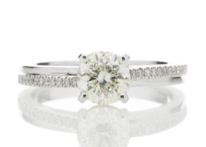 18ct White Gold Stone Set Shoulders Diamond Ring 1.11 Carats