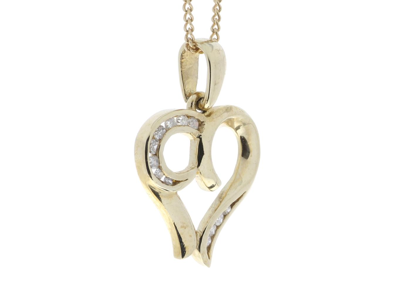 9ct Yellow Gold Diamond Heart Pendant - Image 2 of 4