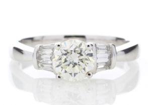 18ct White Gold Baguette Set Shoulders Diamond Ring 1.26 Carats