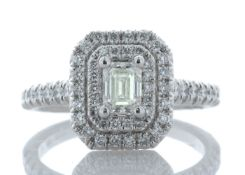 Platinum Single Stone With Halo Setting Ring 0.99 Carats