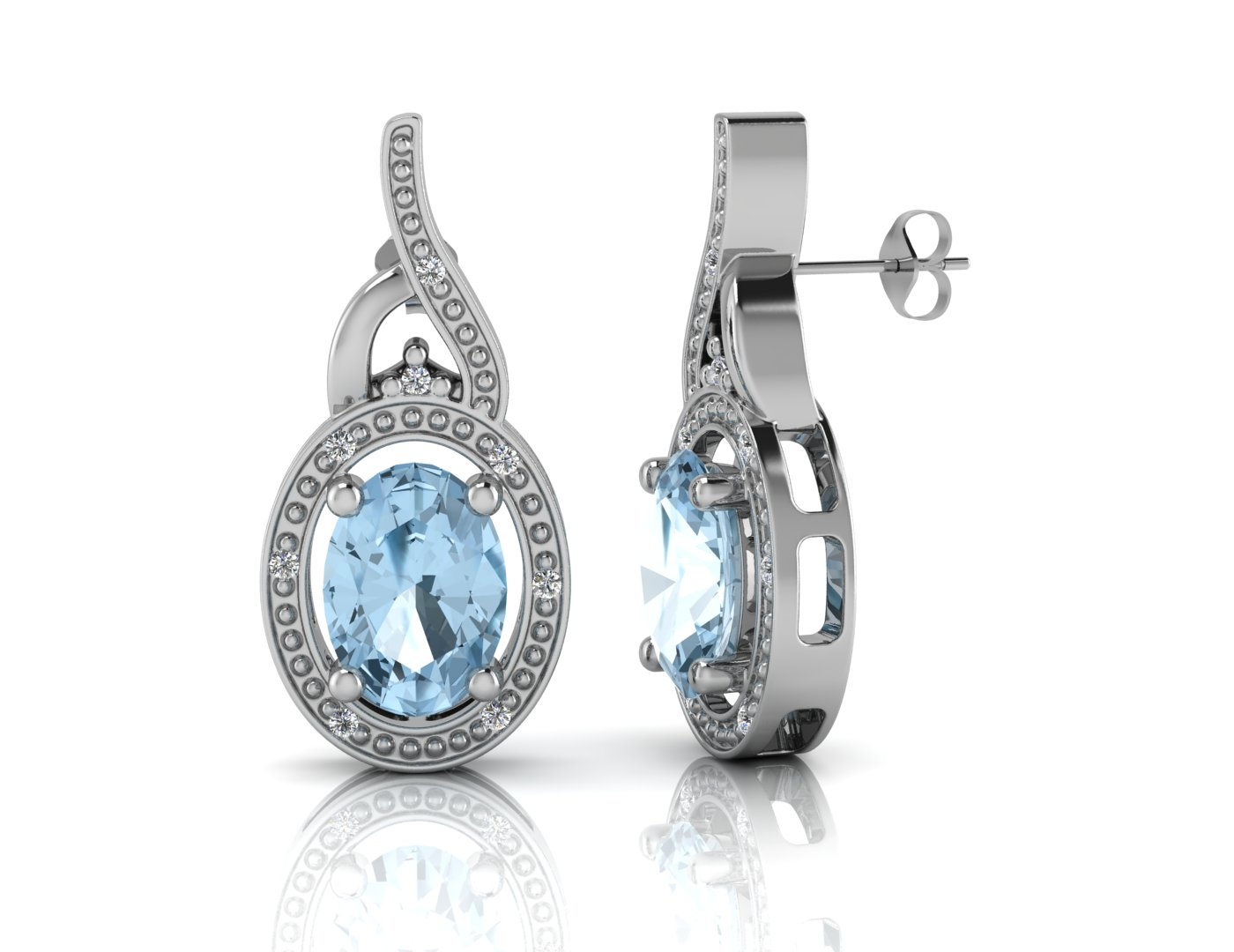 9ct White Gold Diamond And Blue Topaz Earring