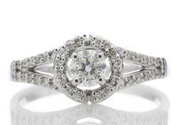 18ct White Gold Halo Set Diamond Ring 0.54 Carats