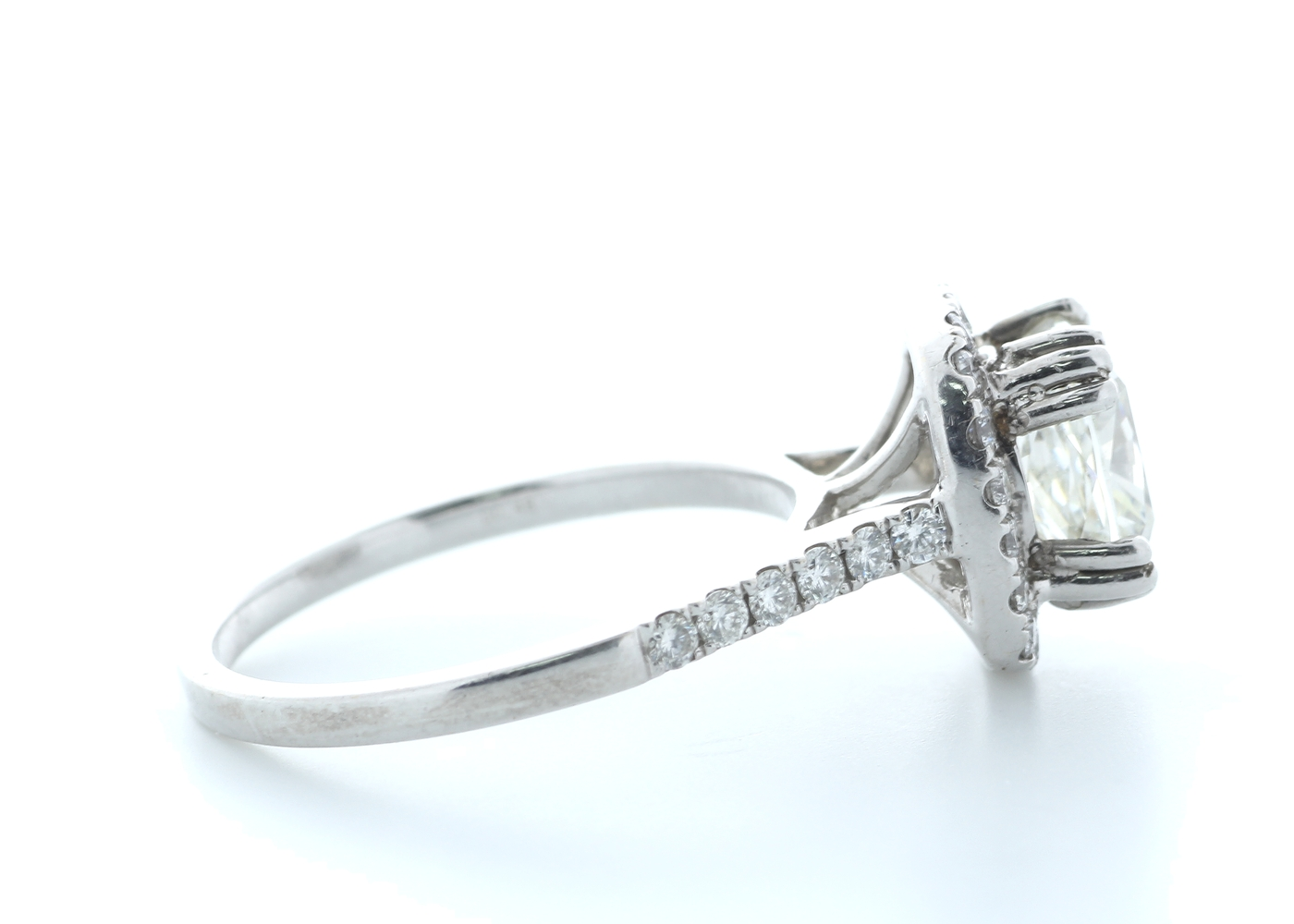 18ct White Gold Single Stone With Halo Setting Ring 2.63 (2.13) Carats - Image 4 of 5