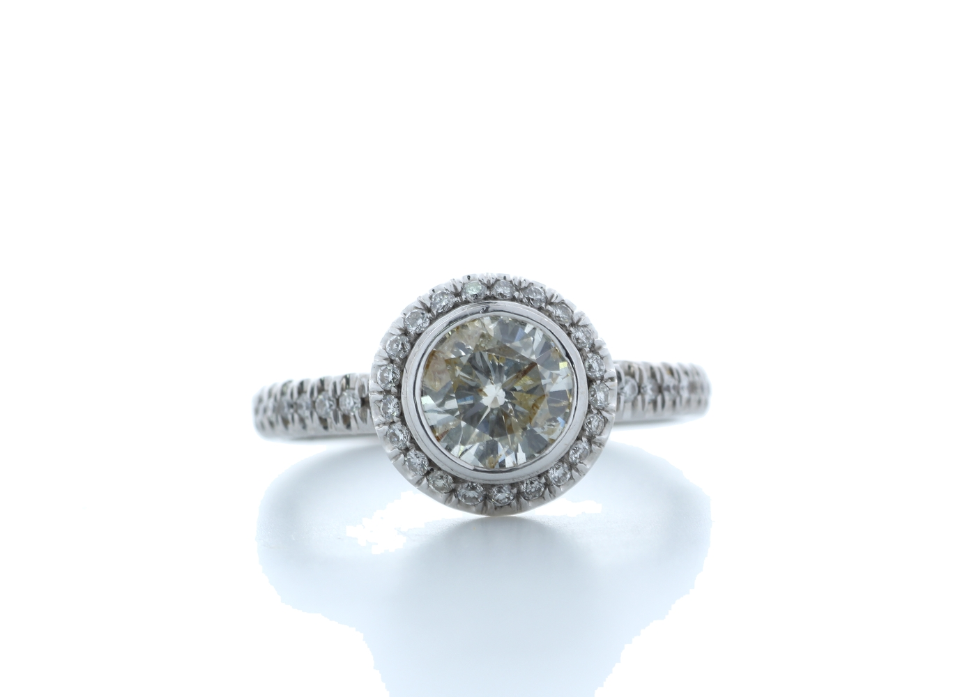 18ct White Gold Single Stone With Halo Setting Ring 1.39 Carats