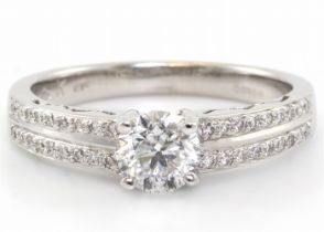 18ct White Gold Diamond Ring With Double Chanel Set Shoulders 0.83 Carats