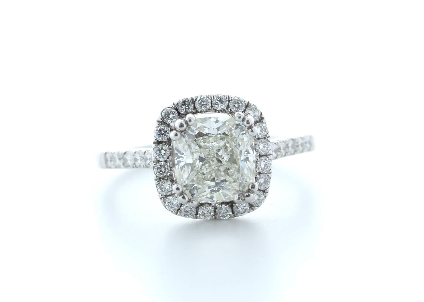 18ct White Gold Single Stone With Halo Setting Ring 2.63 (2.13) Carats