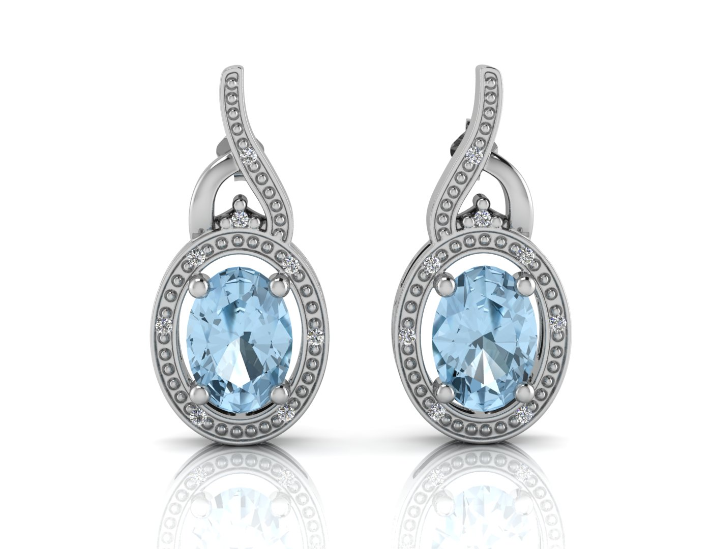 9ct White Gold Diamond And Blue Topaz Earring - Image 3 of 4