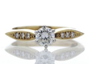 18ct Stone Set Shoulders Diamond Ring 0.42 Carats