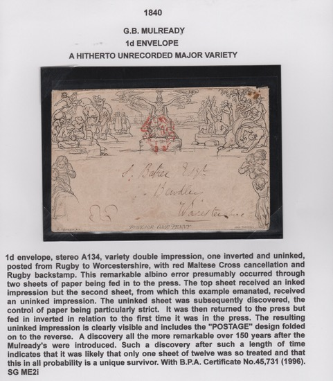 G.B. - MULREADY 1d ENVELOPE A HITHERTO UNRECORDED MAJOR VARIETY 1840. 1d envelope, stereo A134, var - Image 2 of 4