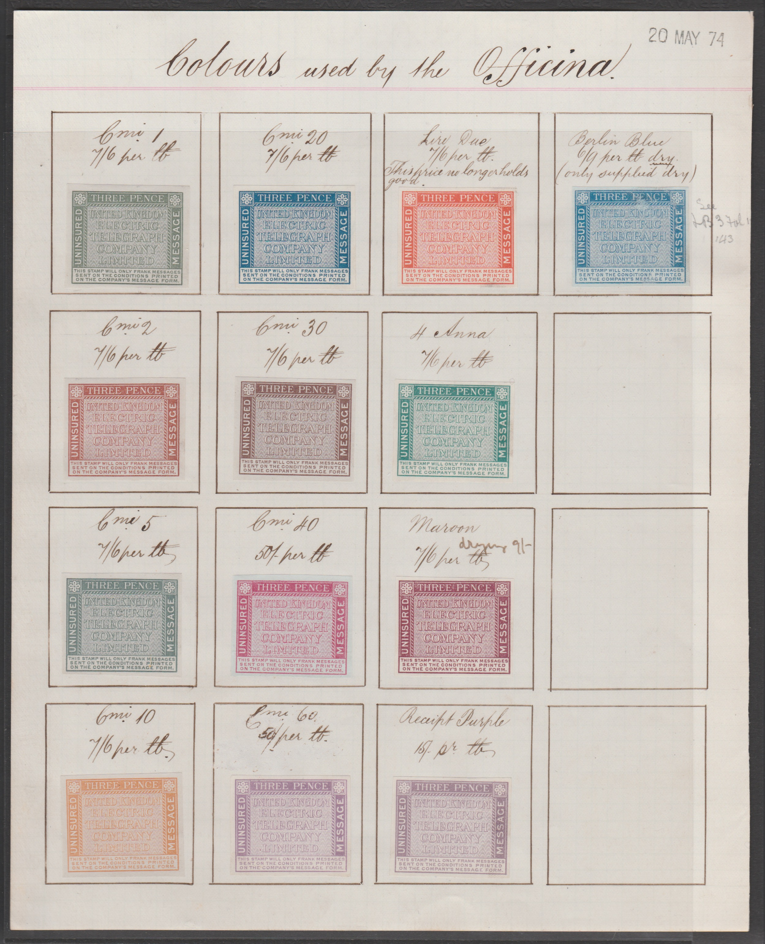 Italy / G.B. - Telegraph Stamps 1874 (May 20)