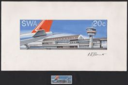 SOUTH WEST AFRICA / NAMIBIA 1977 Final full colour artist's essay for the 20c J.G. Strijdom Airport