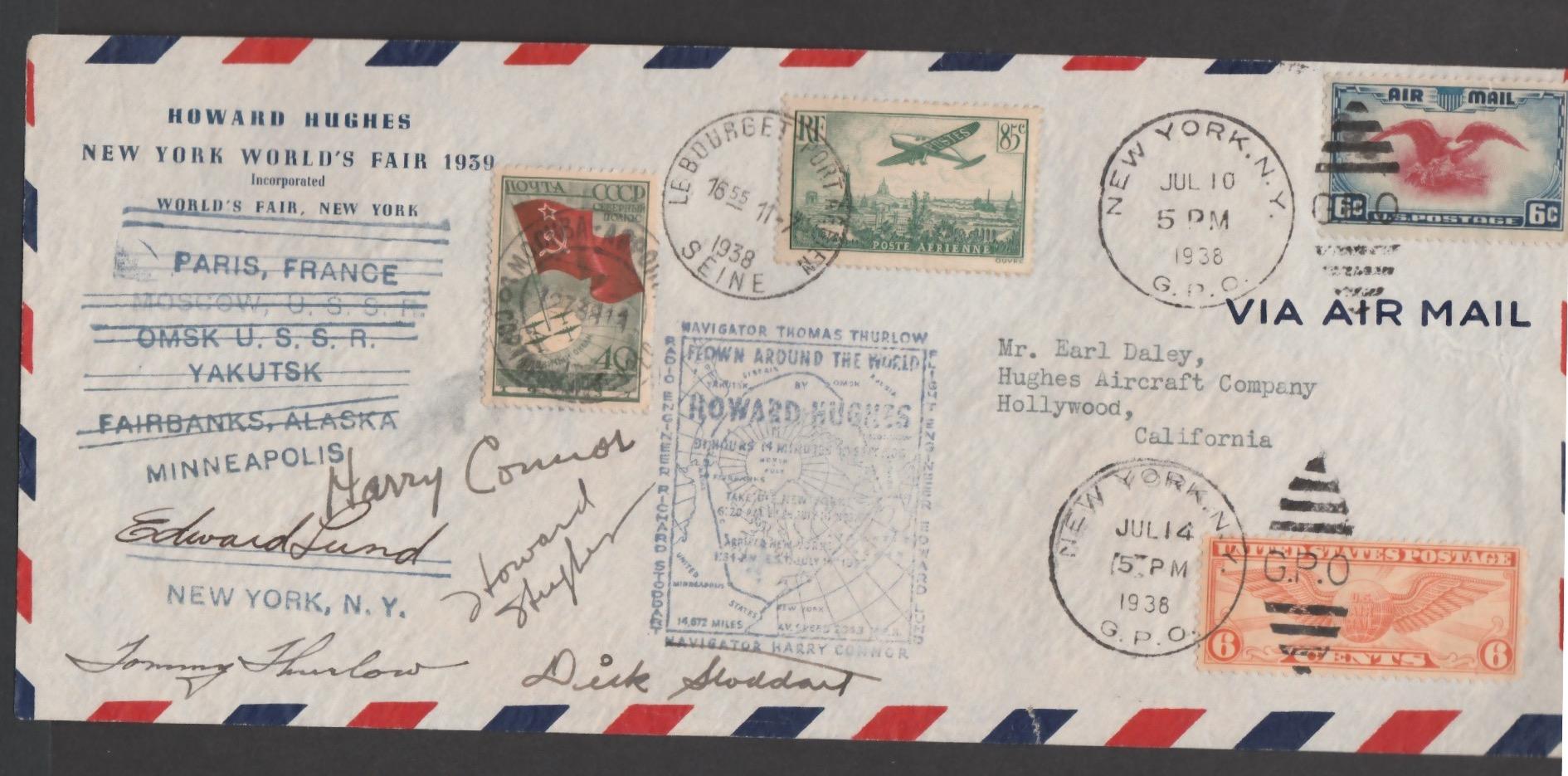 "Airmails - Russia / USA / France 1938 Printed ""Howard Hughes, New York Worlds Fair 1939"""