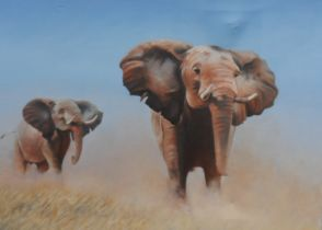 Oil on Canvas. African Elephants by Ray Greenfield