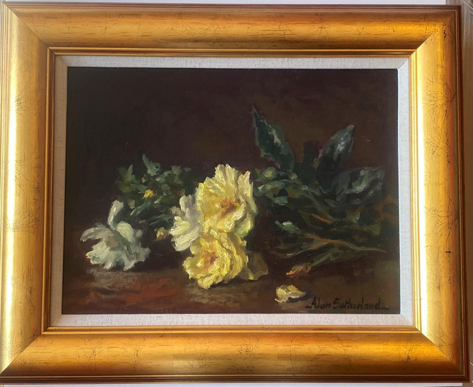 Original Signed Oil Scottish Based Artist. Alan Gordon Dunnett Sutherland - Dog Roses - Image 2 of 4
