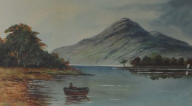 William G. Glover Jn. 1848-1916. Signed Watercolour. Rowing Boat on a Lake