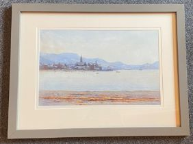 """Signed watercolour by Captain George Drummond-Fish, Scottish view """"Largs Beach"""""""