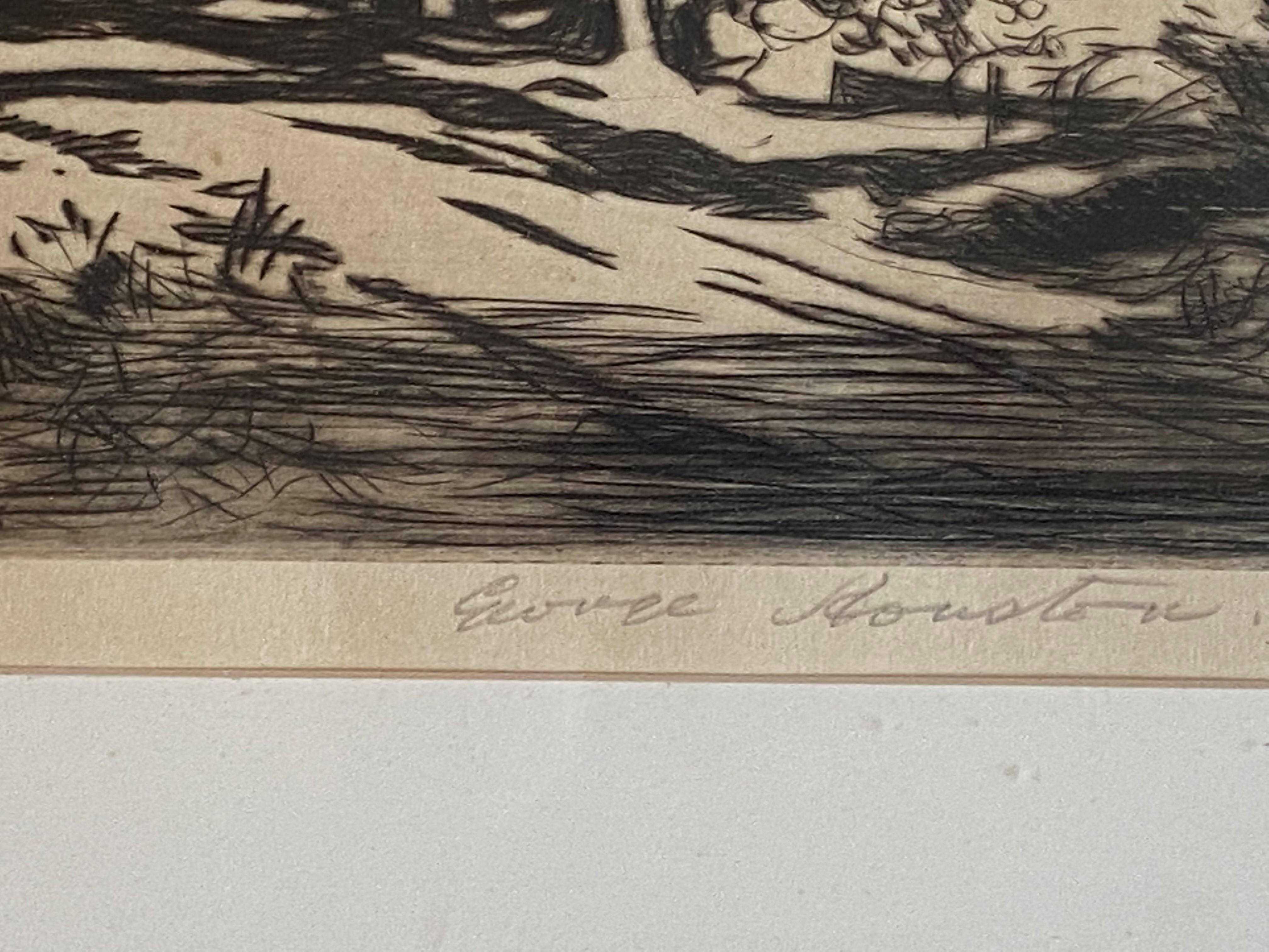 "George Houston RSA, RI, RSW 1869-1947 Scottish signed etching ""A croft Loch Fyne"" - Image 3 of 5"