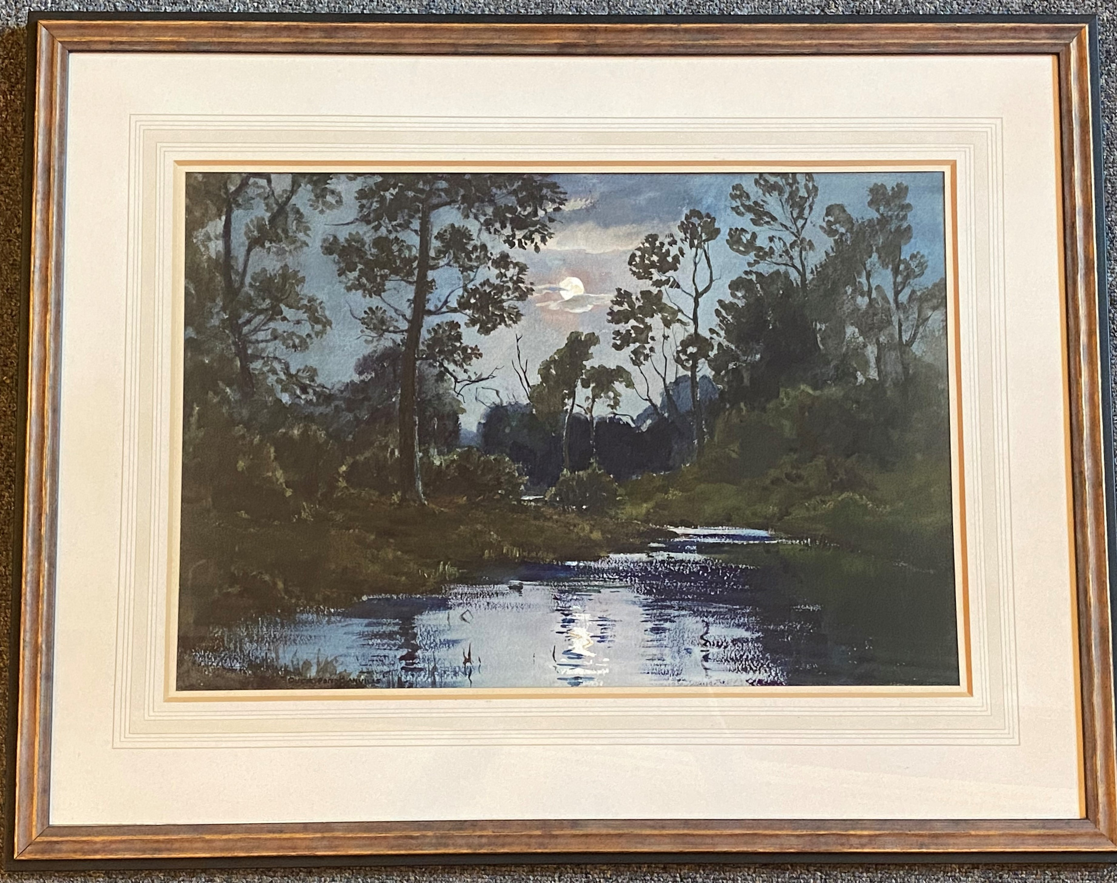 Wycliffe Egginton 1875-1951 signed watercolour Moonlight over water - Image 2 of 4