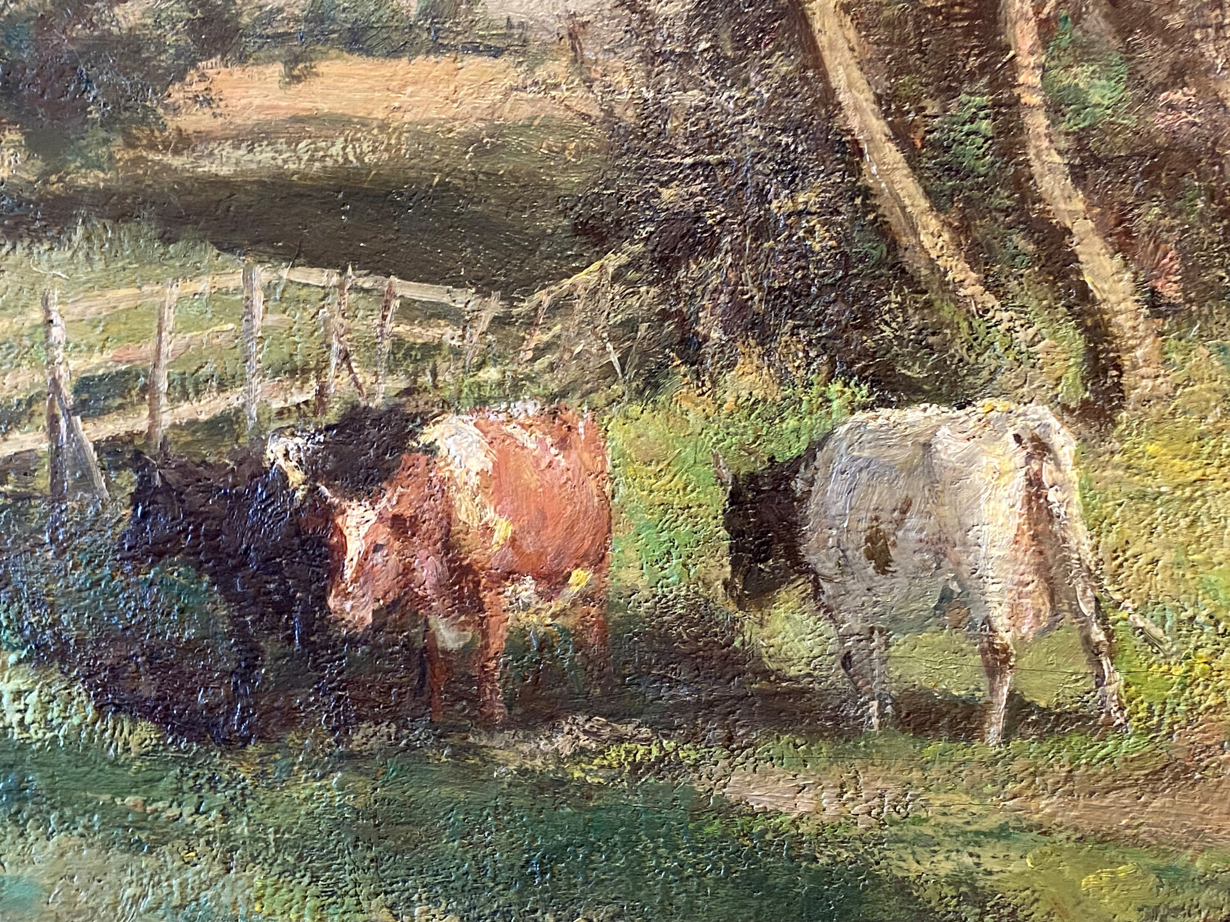 Large James Alick Riddell RSA (1857 - 1928, Scottish) signed oil painting cattle in Summer pasture - Image 4 of 5