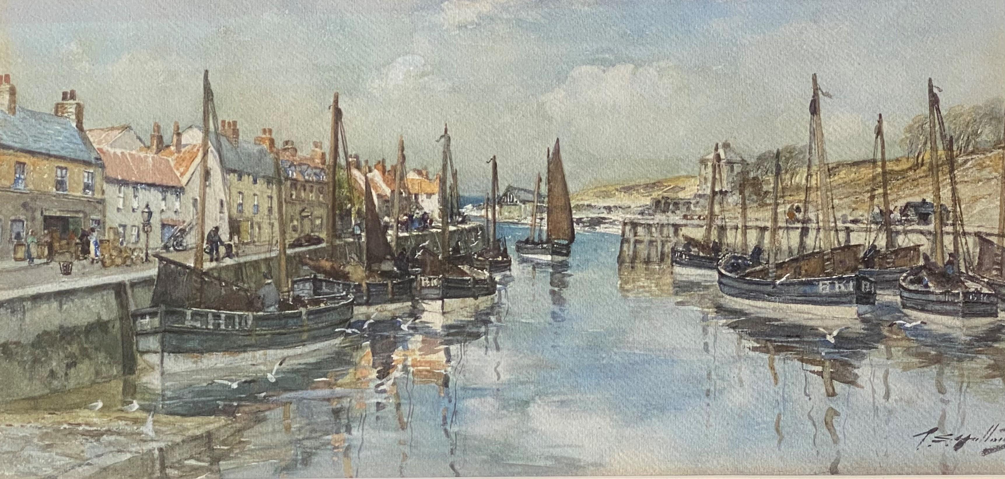Thomas Swift Hutton 1860-1935 (Scottish) signed watercolour Eyemouth harbour - Image 4 of 4