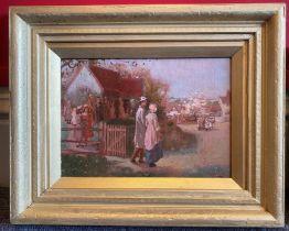"John Lochhead (Scottish) oil painting ""The Wedding"""