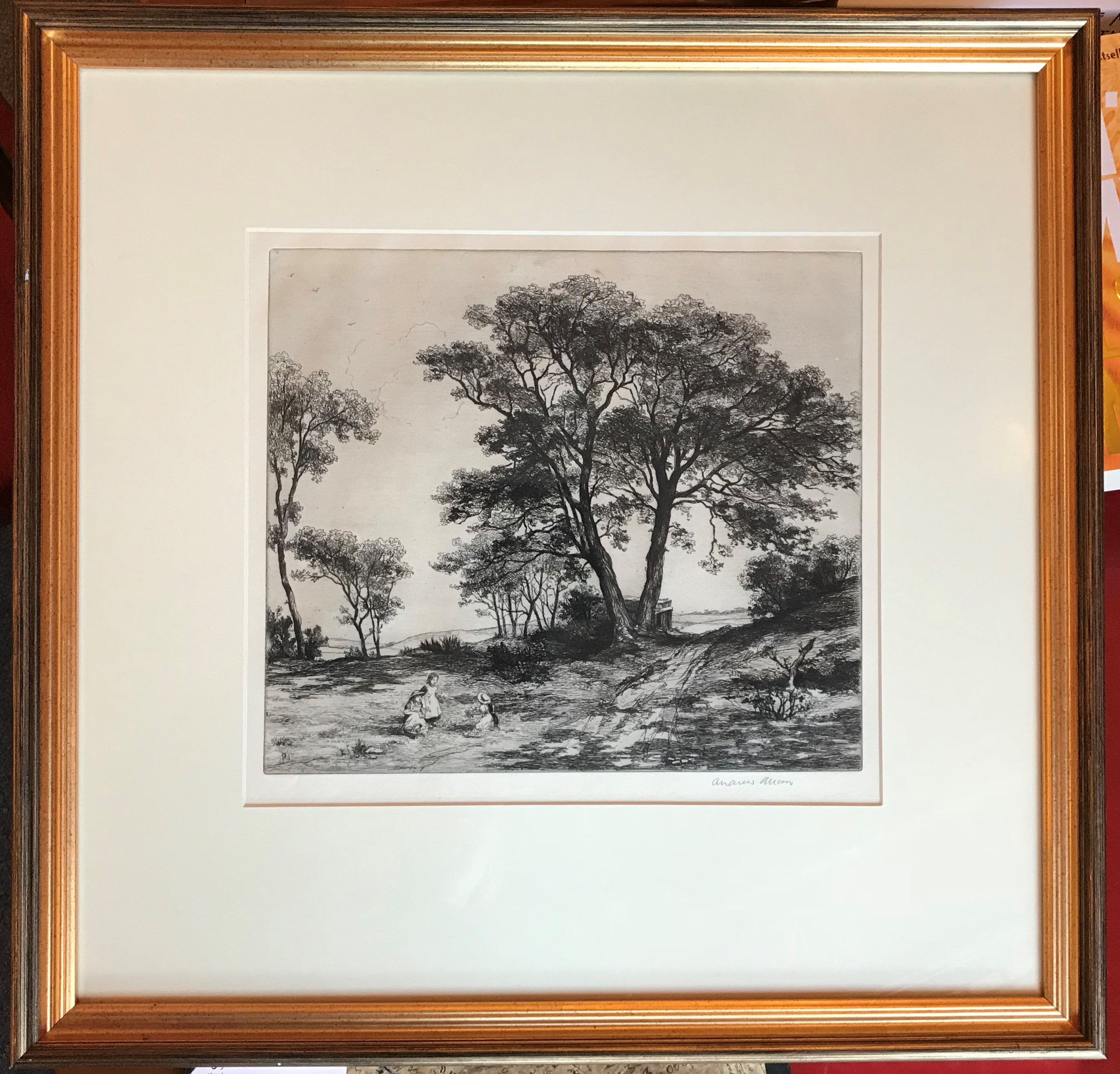 Andrew Allan (1863-1940) pencil signed etching The Picnic