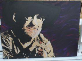 Sir Terry Pratchett. Large Oil On Canvas