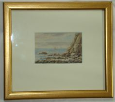 """Watercolour. Small WC """"Off the Dorset Coast"""" by P.R. Ingram 1886"""