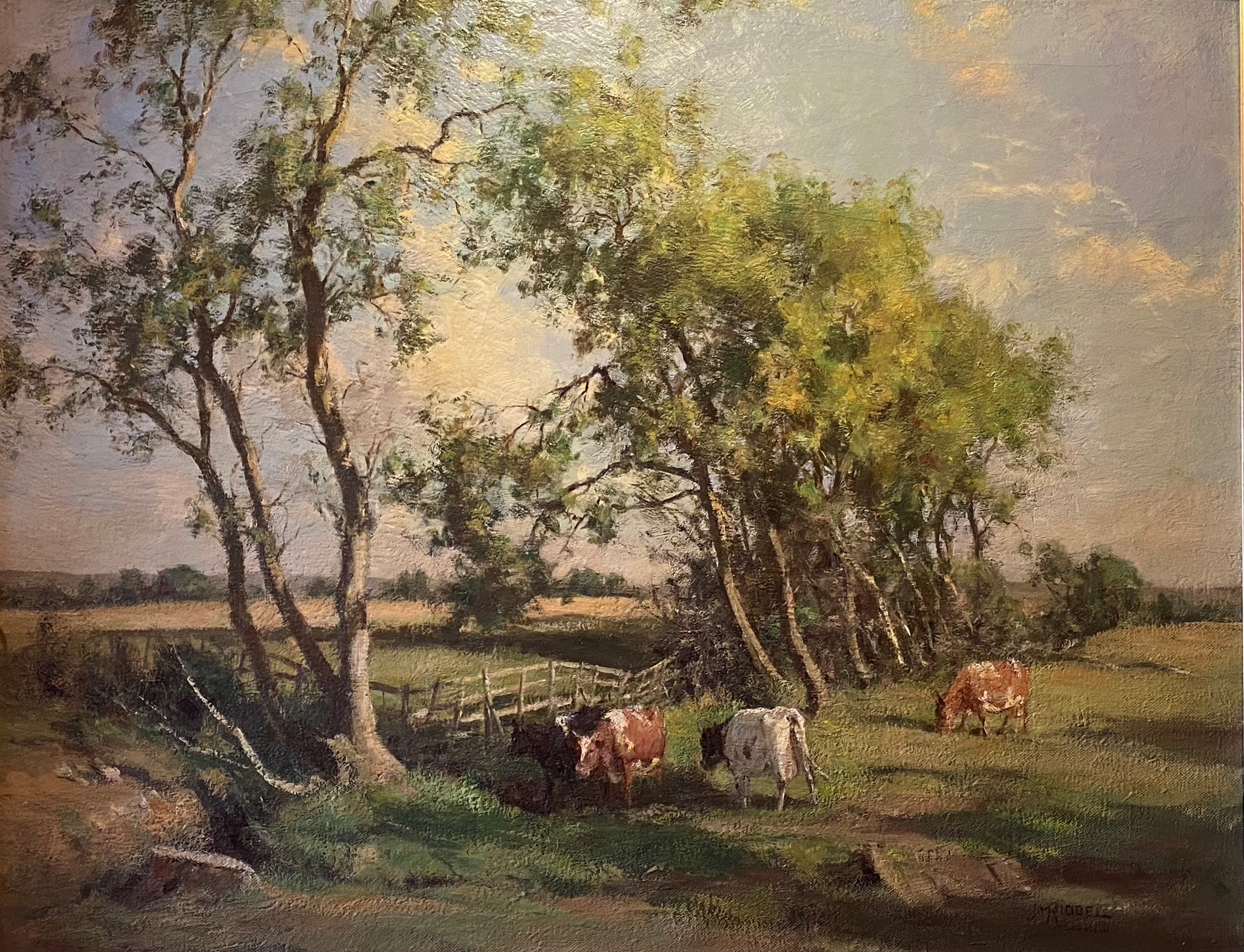 Large James Alick Riddell RSA (1857 - 1928, Scottish) signed oil painting cattle in Summer pasture - Image 5 of 5