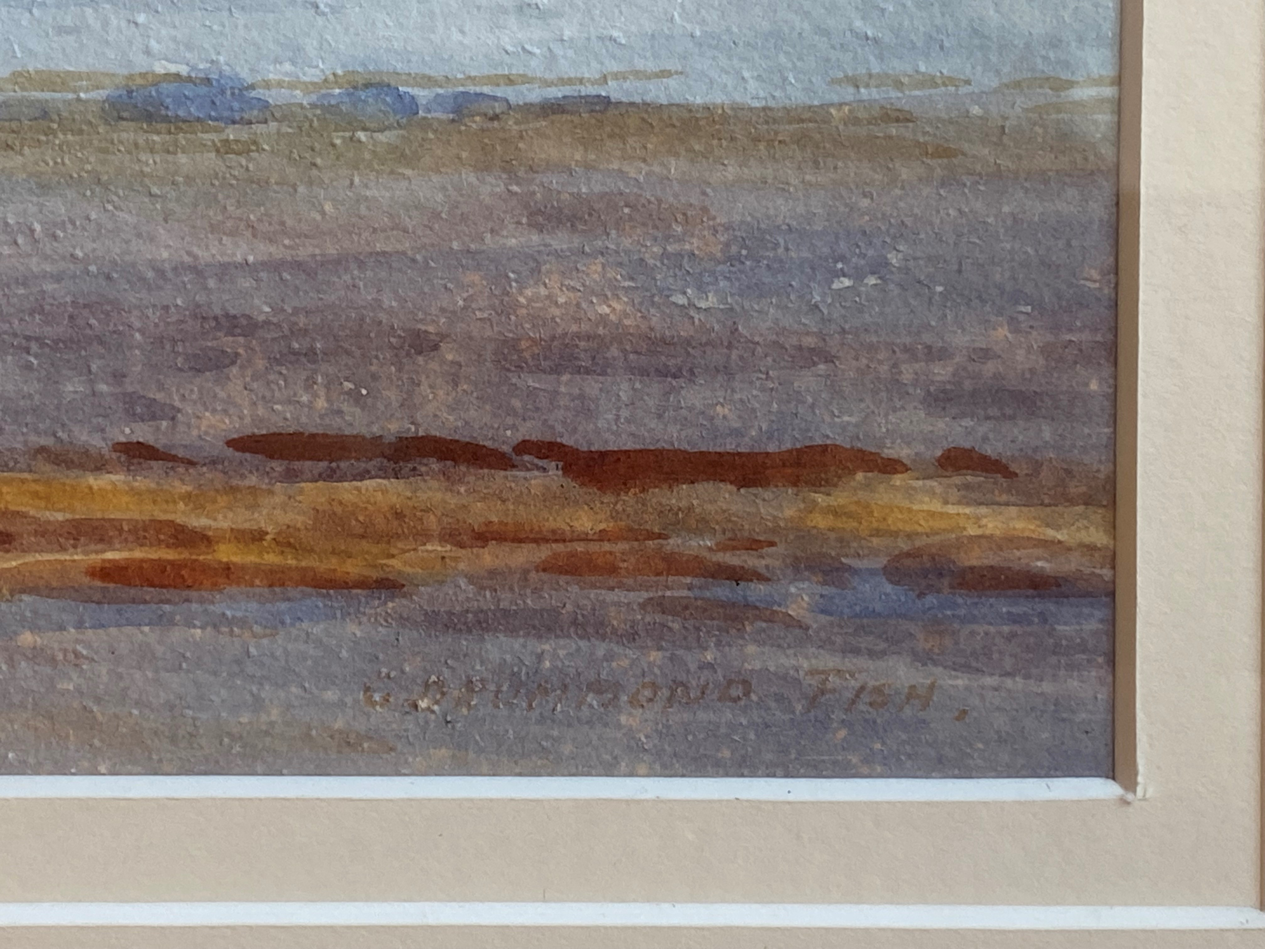 """Signed watercolour by Captain George Drummond-Fish, Scottish view """"Largs Beach"""" - Image 3 of 3"""