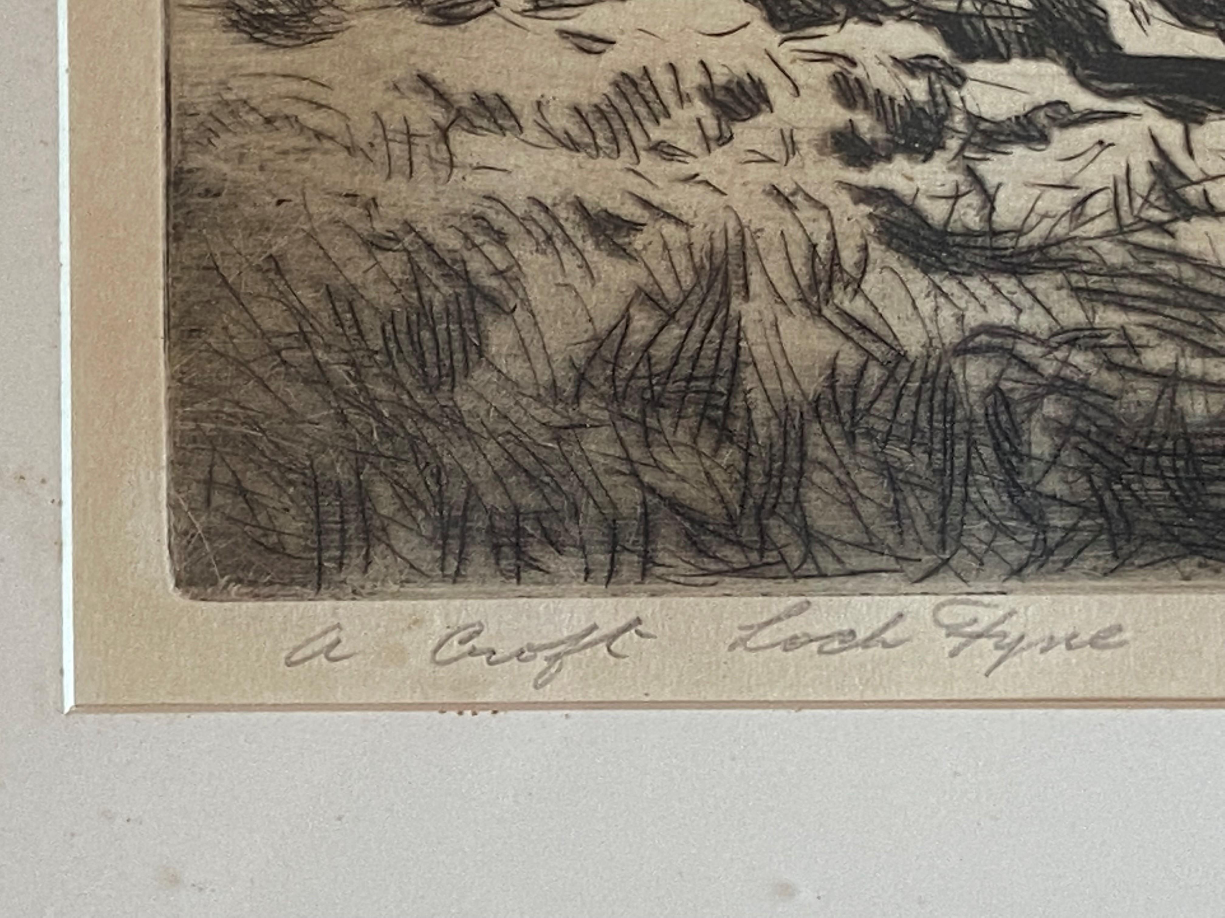 "George Houston RSA, RI, RSW 1869-1947 Scottish signed etching ""A croft Loch Fyne"" - Image 4 of 5"