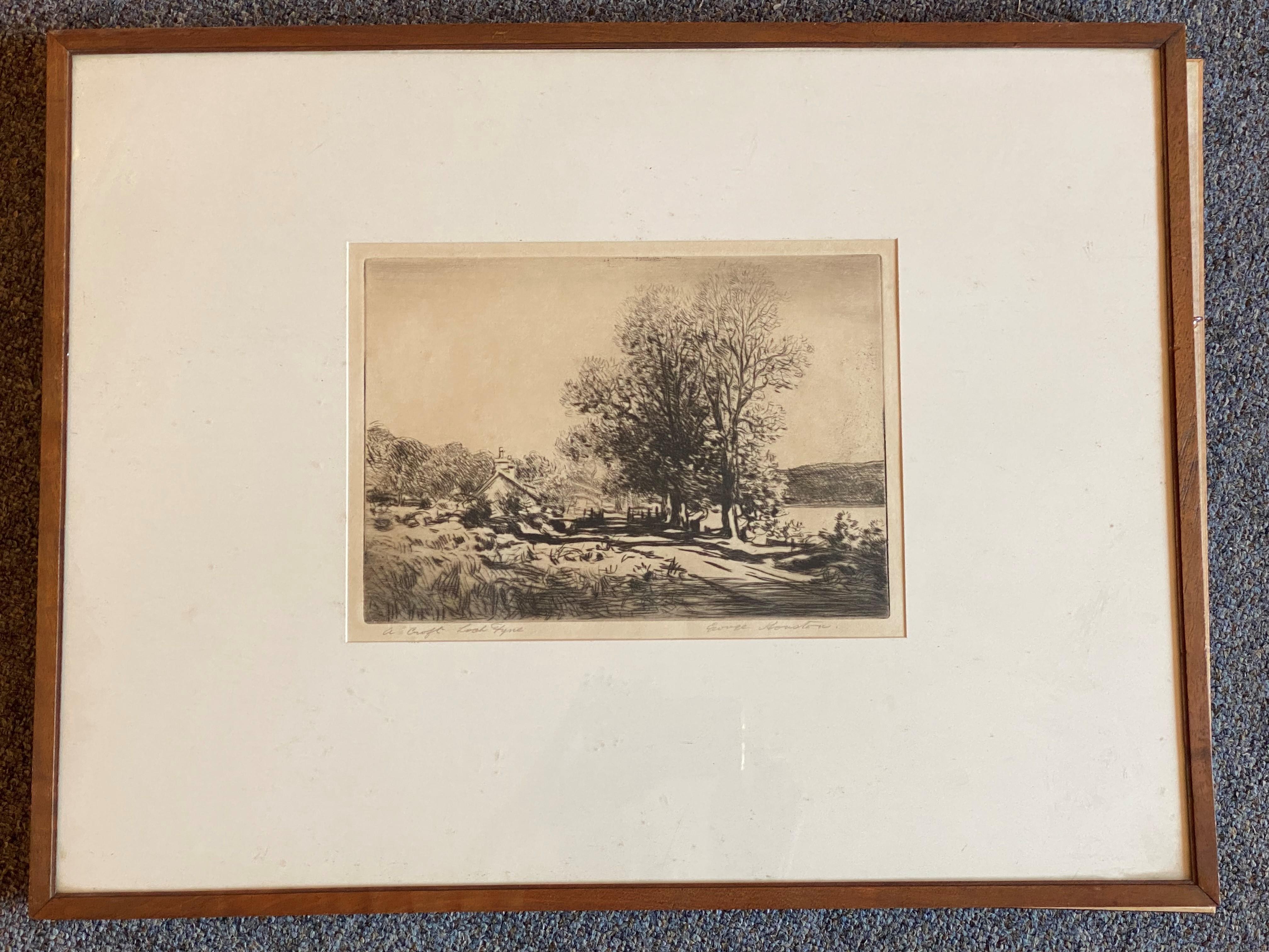 """George Houston RSA, RI, RSW 1869-1947 Scottish signed etching """"A croft Loch Fyne"""""""