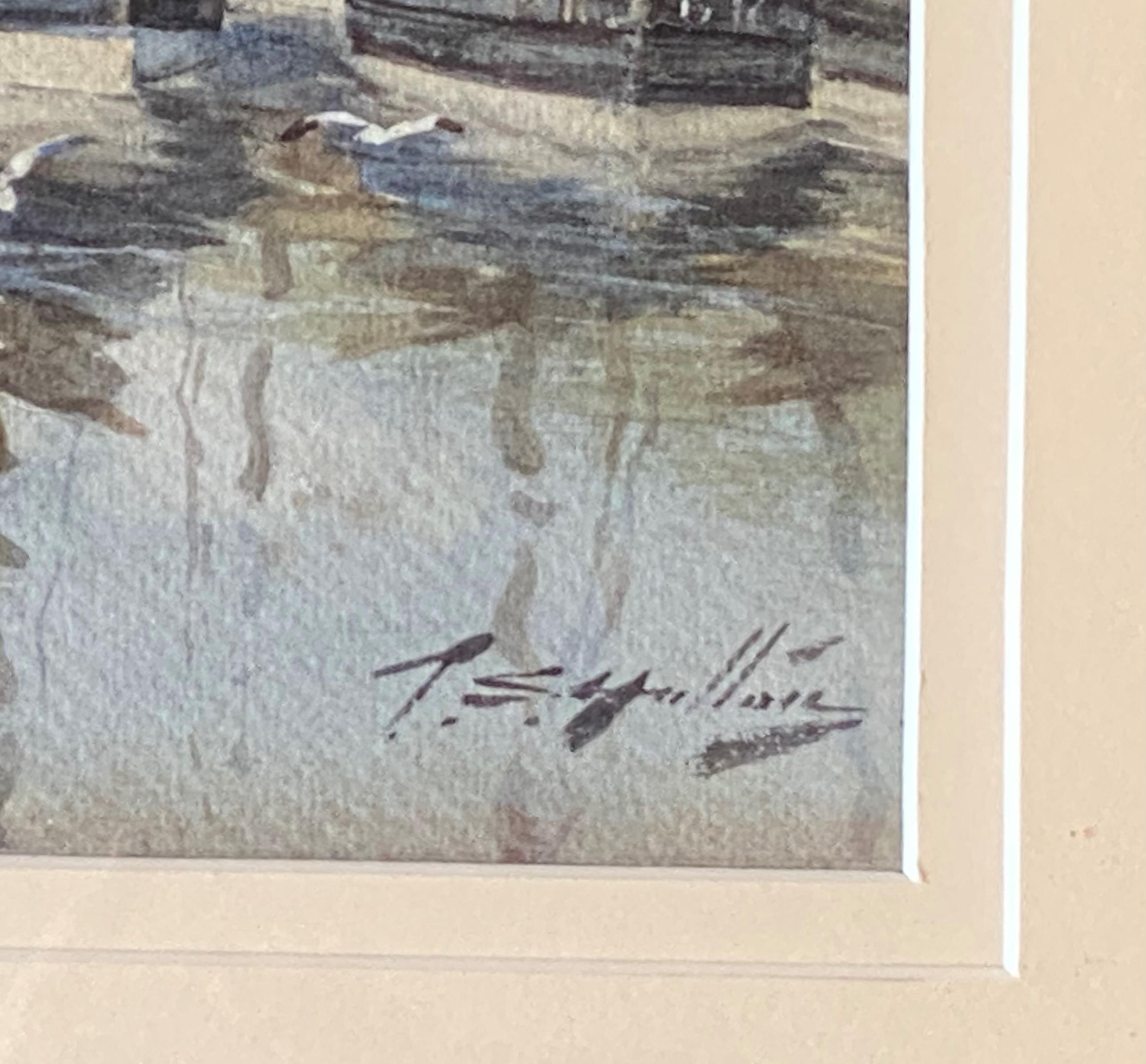 Thomas Swift Hutton 1860-1935 (Scottish) signed watercolour Eyemouth harbour - Image 3 of 4