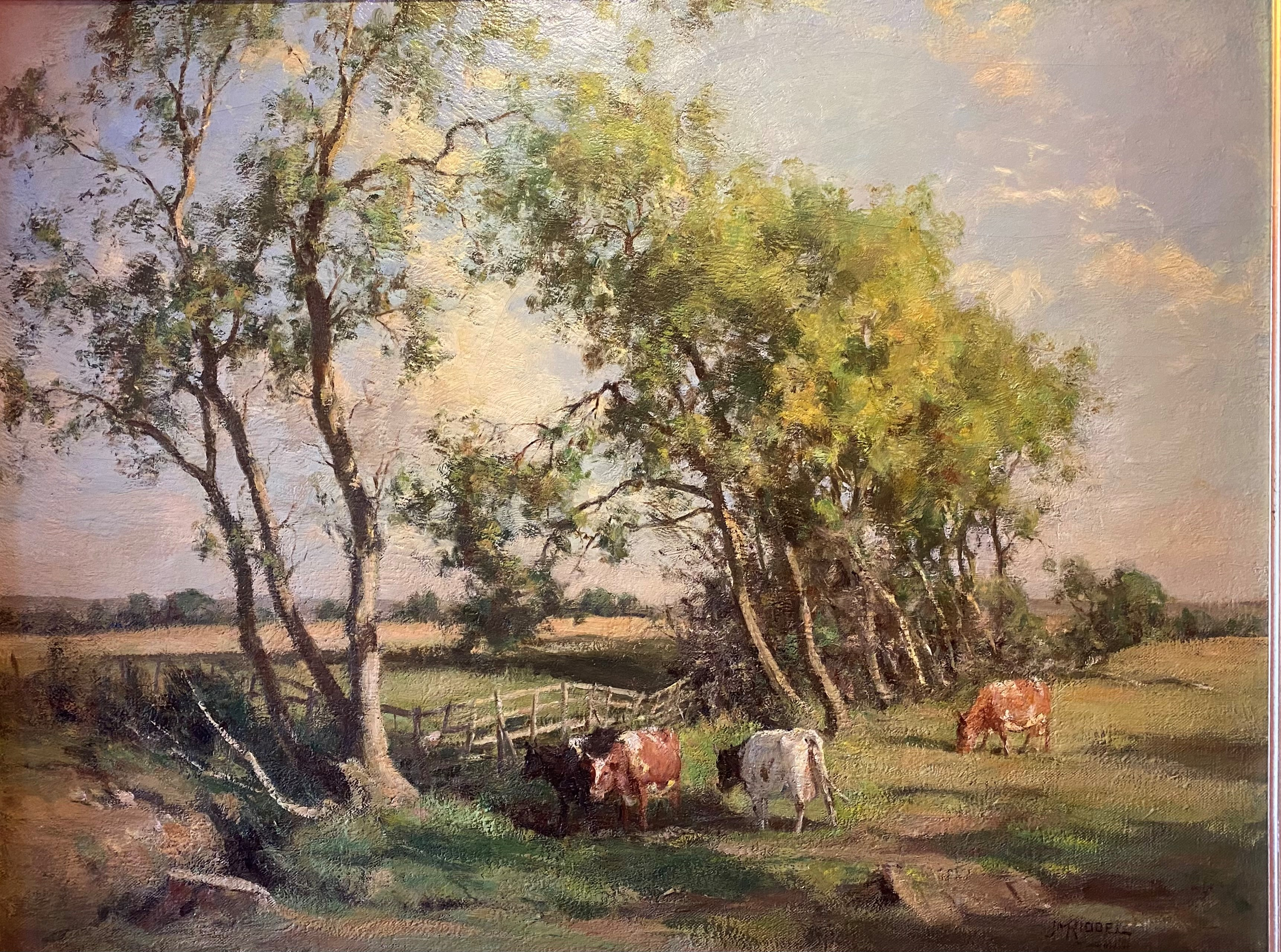 Large James Alick Riddell RSA (1857 - 1928, Scottish) signed oil painting cattle in Summer pasture - Image 2 of 5
