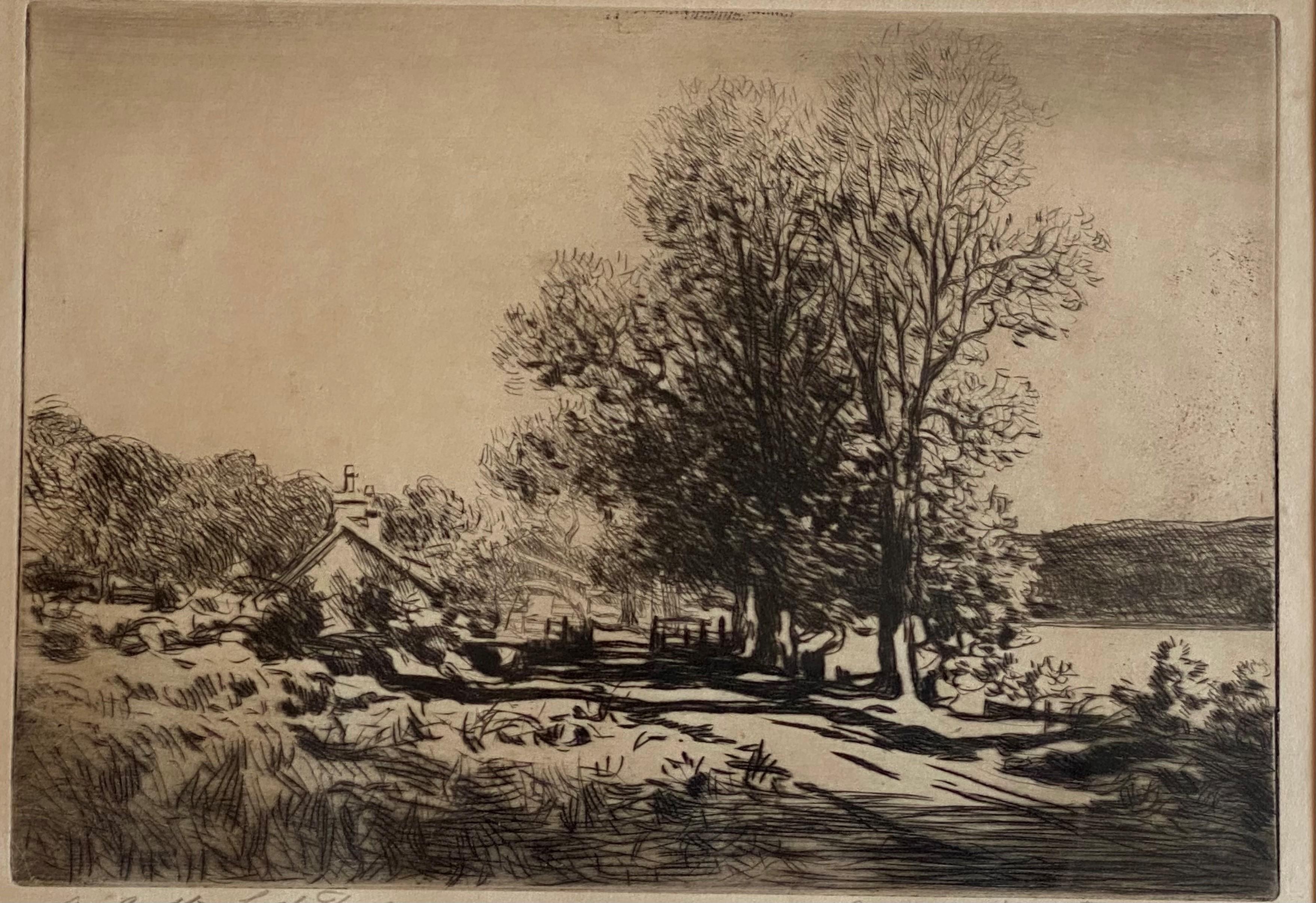 "George Houston RSA, RI, RSW 1869-1947 Scottish signed etching ""A croft Loch Fyne"" - Image 2 of 5"