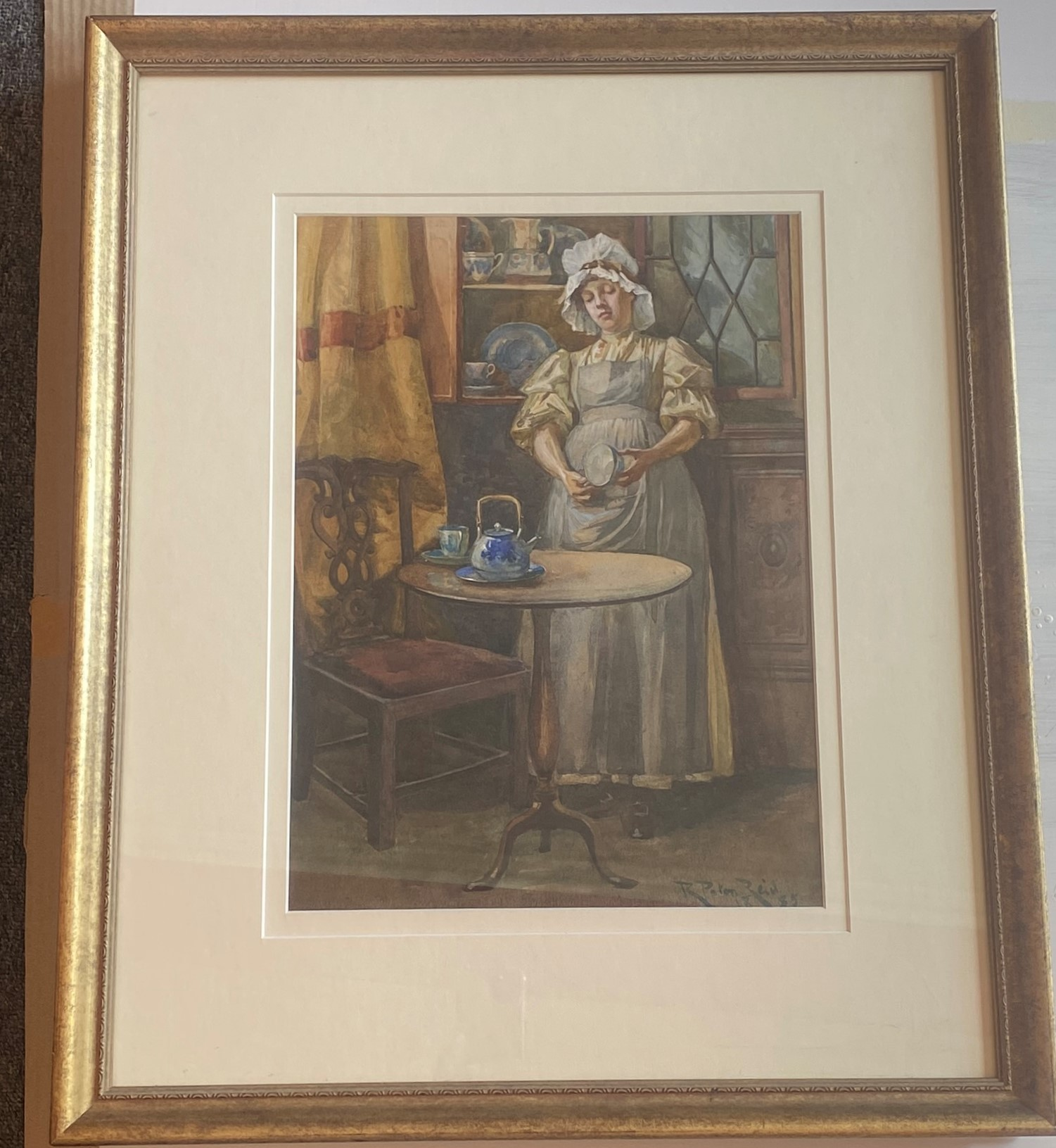 Original Signed Watercolour. Robert Paton Reid (1859 - 1945) - The Kitchen Maid - Image 2 of 3