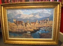 Large Peter Munro (Scottish) oil on canvas, stag and hinds by a mountain burn