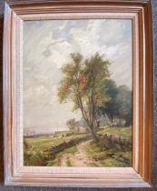"""James Campbell Noble RSA Scottish signed oil """"Path to the Croft"""""""