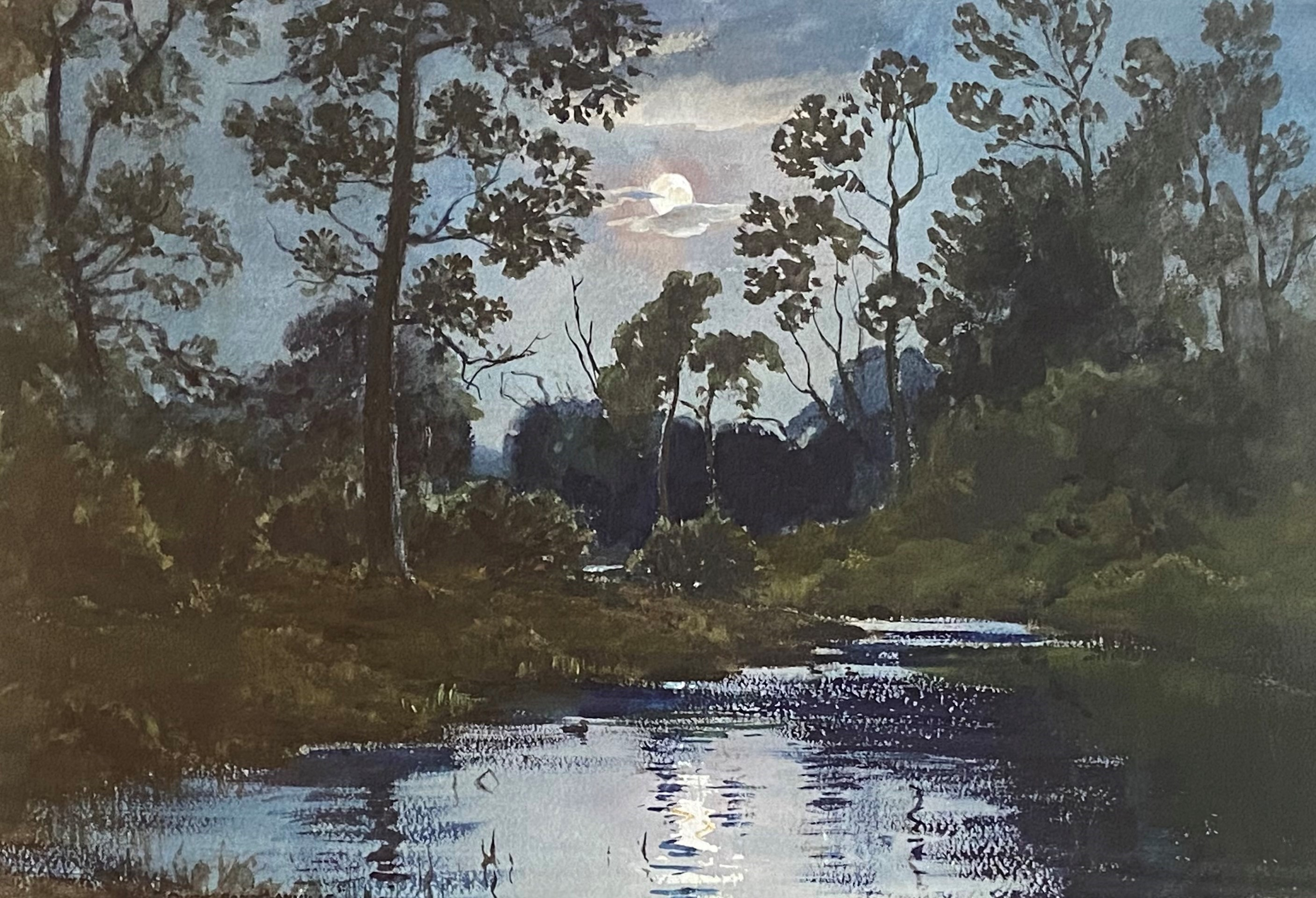 Wycliffe Egginton 1875-1951 signed watercolour Moonlight over water