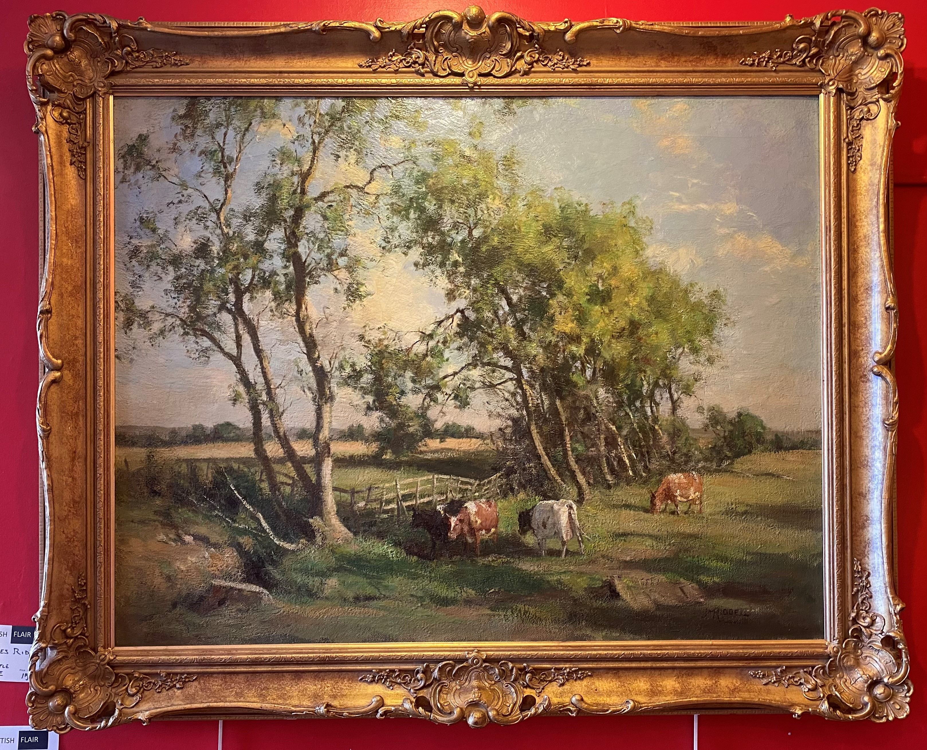 Large James Alick Riddell RSA (1857 - 1928, Scottish) signed oil painting cattle in Summer pasture