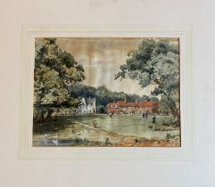 Unframed Watercolour titled Esher Green dated 10th July 1863