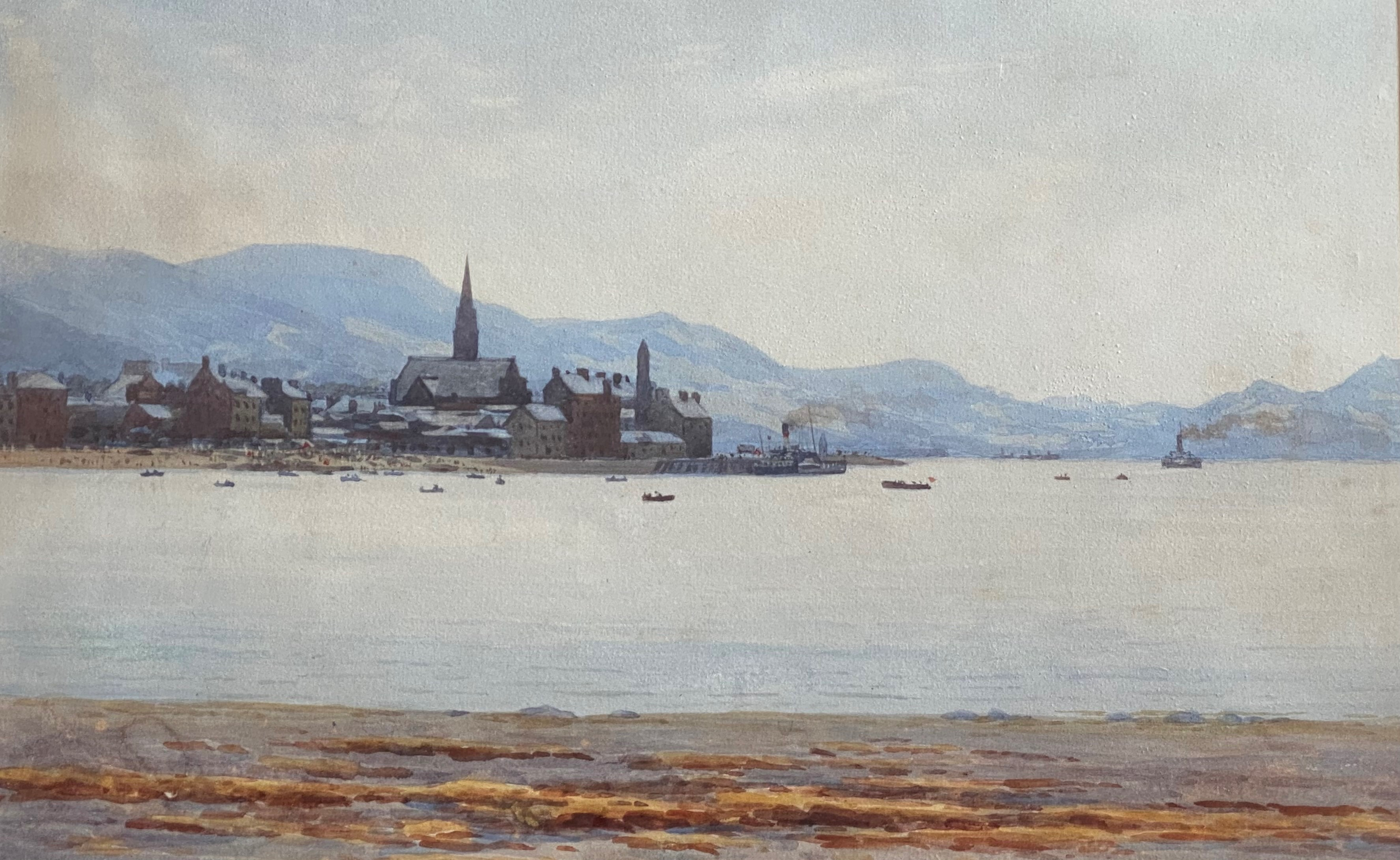 """Signed watercolour by Captain George Drummond-Fish, Scottish view """"Largs Beach"""" - Image 2 of 3"""