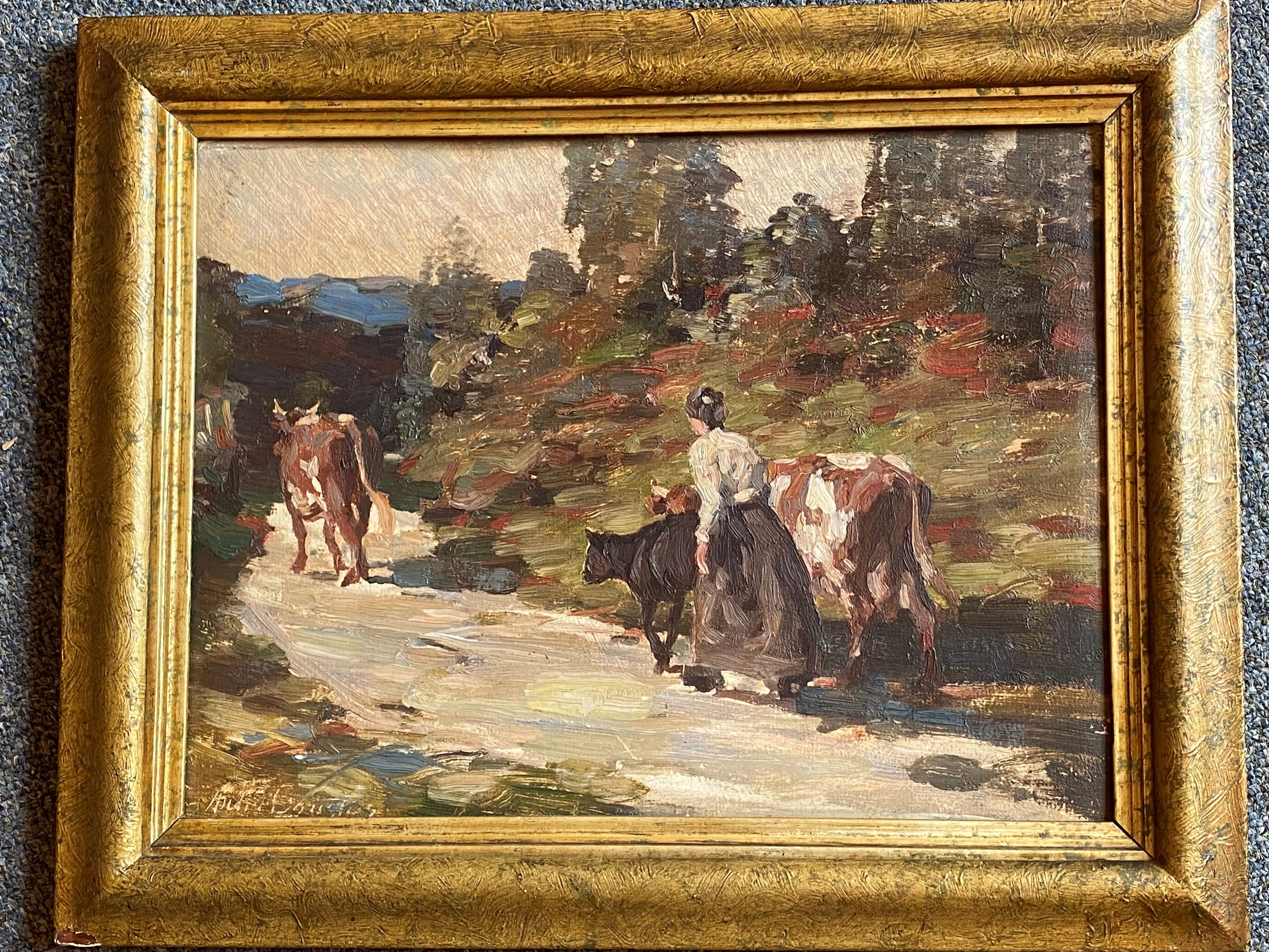 Andrew Douglas RSA (1870-1935) Scottish signed oil painting Cattle being driven homewards