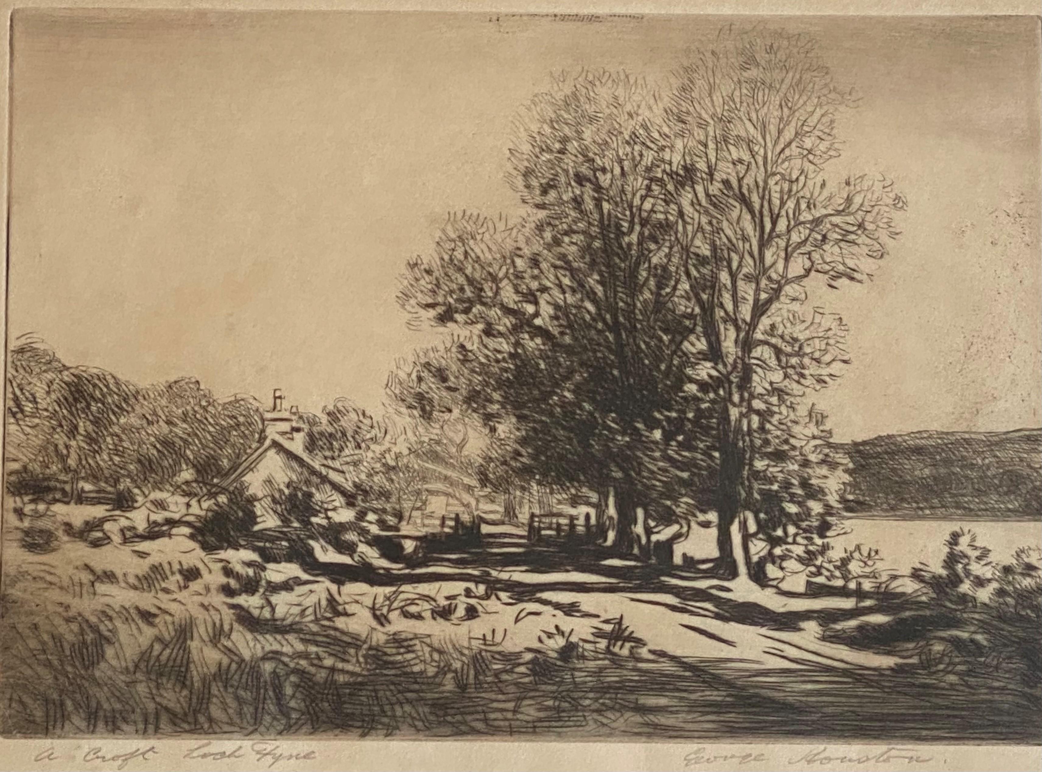 "George Houston RSA, RI, RSW 1869-1947 Scottish signed etching ""A croft Loch Fyne"" - Image 5 of 5"