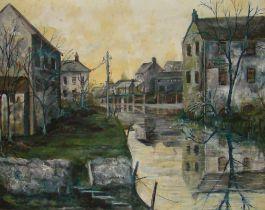"""Large Framed Oil on Canvas """"Armageddon"""""""