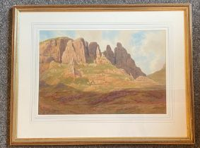 Captain George Drummond-Fish signed watercolour Quiraing Isle of Skye